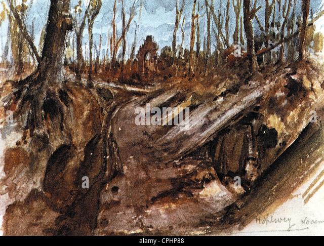 Watercolor by Adolf Hitler, 1914 - Stock-Bilder