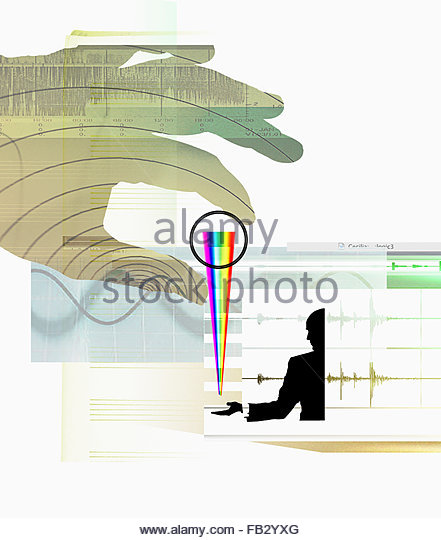 Businessman receiving multicolored spectrum from large hand with computer, blank sheet music and sound waves - Stock-Bilder
