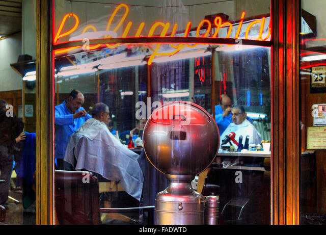 Antique Barber shop at May Avenue, Buenos Aires, Argentina. - Stock Image