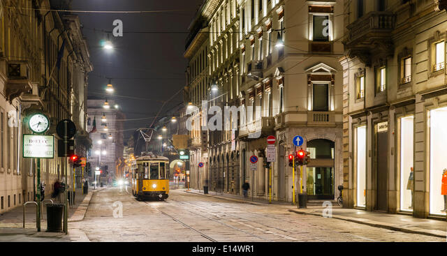 Tram, Via Manzoni, Milan, Lombardy, Italy - Stock Image