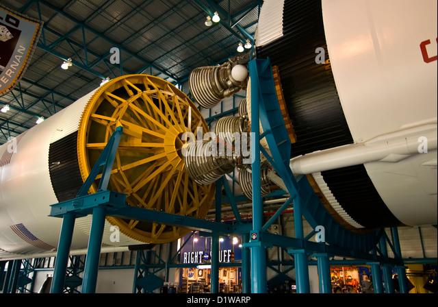 Apollo rocket spacecraft docking mechanism display Kennedy Space Center Visitor Center, Florida - Stock Image