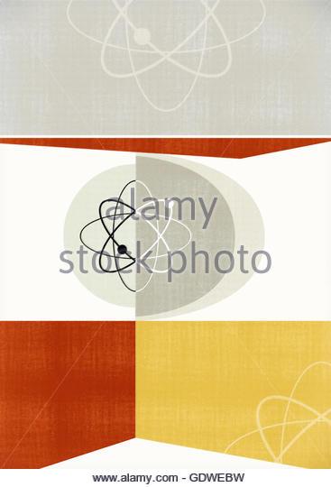 Atomic mid century vintage etro geometric background - Stock Image