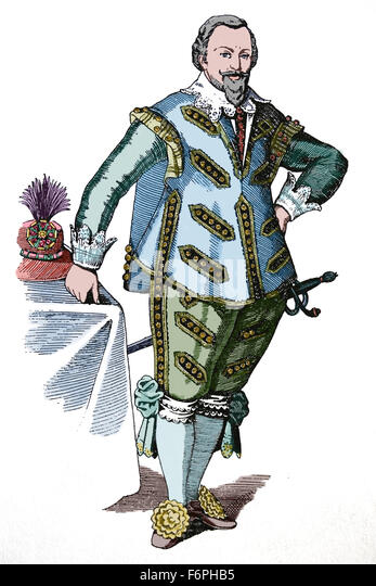 Netherlands. Dutch prince. Baroque period. 17th century. Engraving. Color. - Stock-Bilder