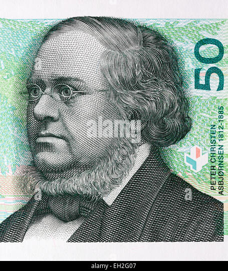 Peter Christen Asbjornsen from 50 Kroner banknote, Norway, 2008 - Stock-Bilder