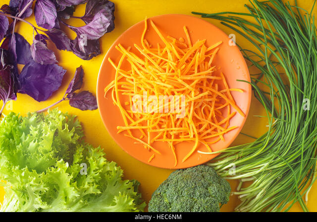 Village herbs and vegetables on the table horizontal - Stock Image