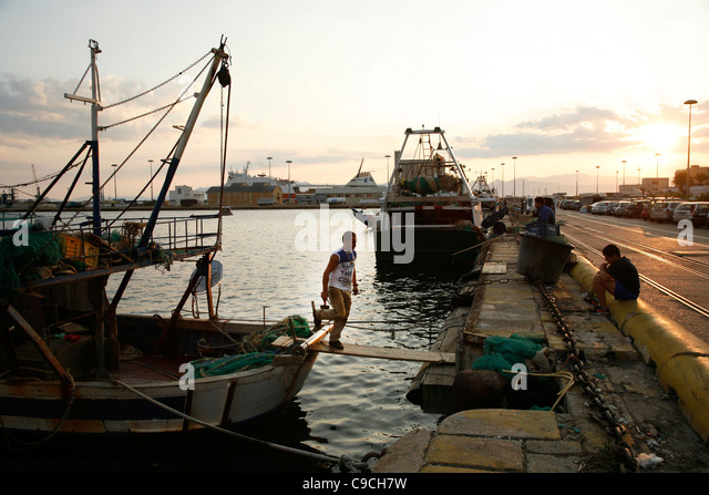 fishermen at the port, Cagliari, Sardinia, Italy. - Stock Image