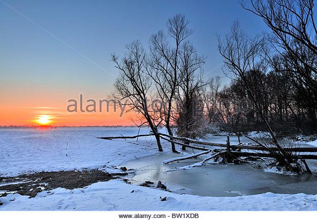 Beautiful winter sunset Lonjsko polje, Croatia - Stock Image