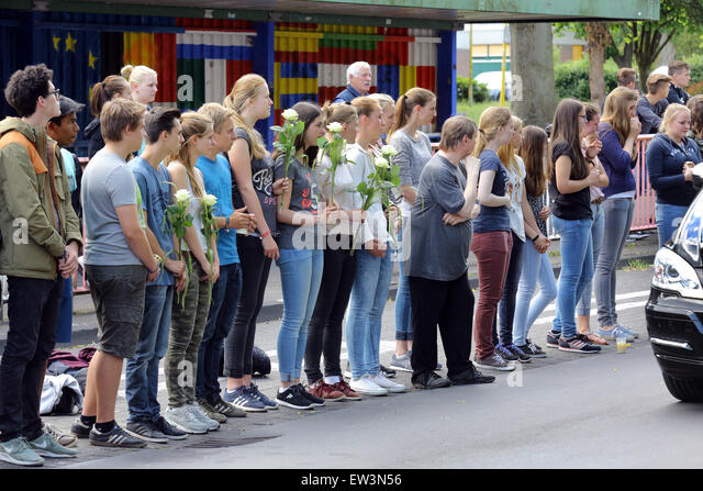 Haltern, March 10th 2015: The mortal remains of those 16 students and two teachers killed at the Germanwings plane - Stock Image
