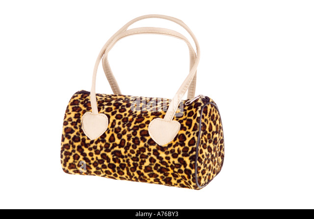 Kitsch fake leopard print handbag on a pure white background. - Stock Image
