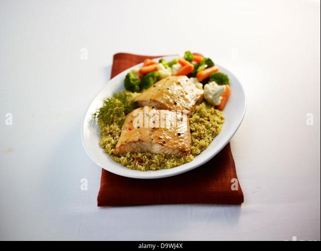 salmon plate - Stock Image