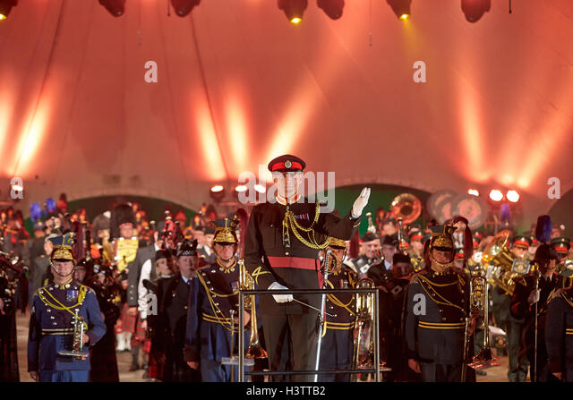 Loreley Tattoo 2016 Military Music Festival, Major Jason Griffith with marching band, Musical Director Edinburgh - Stock-Bilder