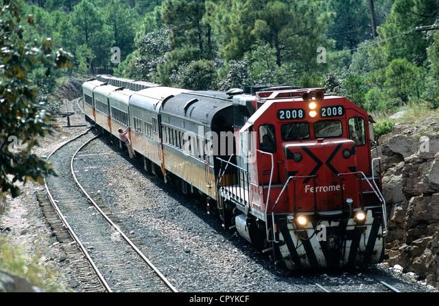 Mexico, Chihuahua State, Divisadero, arrival of El Chepe Train, the last passenger train of Mexico - Stock Image