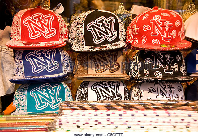 New York baseball cap souvenirs. - Stock Image