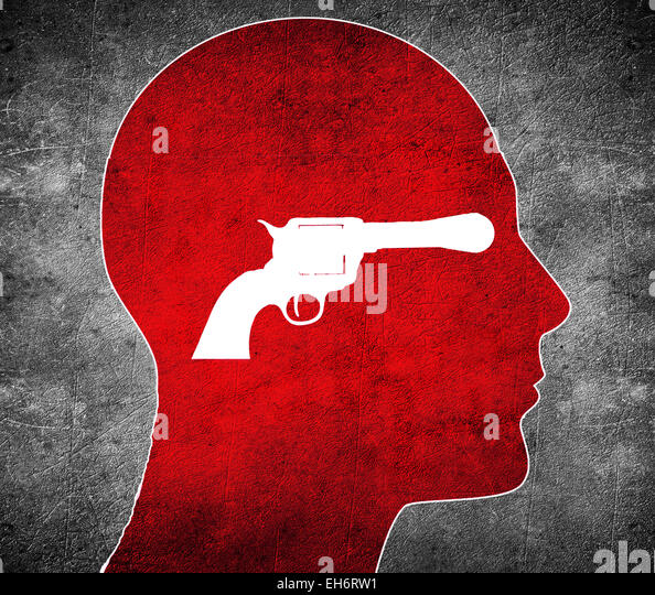 red silhouette head with white  gun - Stock Image