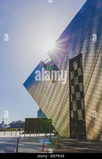DUBLIN, IRELAND - April 21st, 2018: architectural details of the Bord Gais Theatre in the renovated Docklands area shot on a sunny day - Stock Image