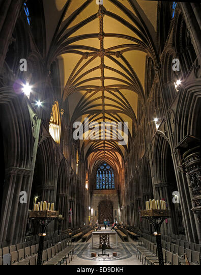 Lichfield Cathedral interior Staffordshire at dusk, England, UK - Stock Image