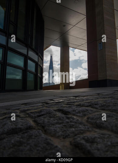 An unusual view of the Shard from the North Embankment - Stock Image