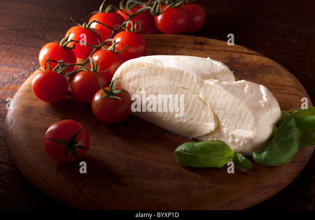 Mozzarella with Tomato and Basil - Stock Image