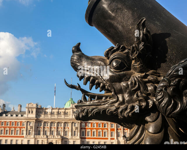 Detail Of The Cadiz Memorial And The Old Admiralty Building In The Background, Horseguards Parade, London, England. - Stock Image
