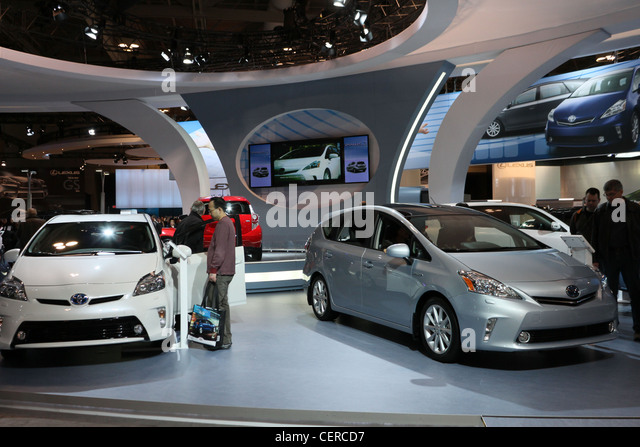 toyota prius electric hybrid car cars showroom - Stock Image