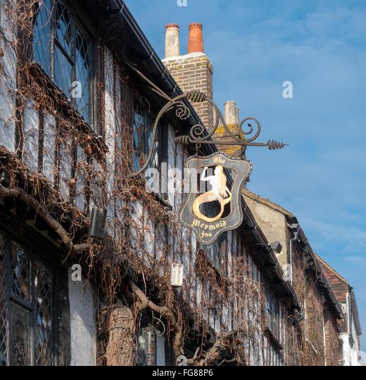 View of the Mermaid Inn in Rye East Sussex - Stock Image