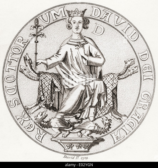 Seal of David II, 1324 – 1371. King of Scots. - Stock Image