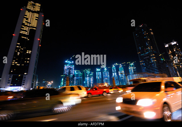 new construction of skyscrapers in the Dubai business bay, Dubai, United Arab Emirates - Stock Image