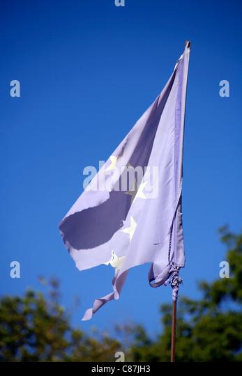 EU flag in tatters, concept, torn, ragged, ruined, in ruins, broke, broken, dejected, spoiled, spoilt, Europe, European, - Stock Image