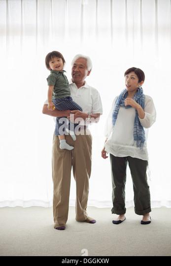 Three generation family, portrait - Stock-Bilder