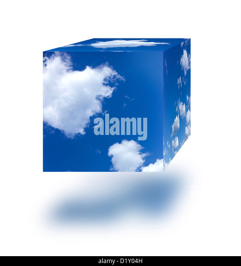 Sky cube against a white background. - Stock Image