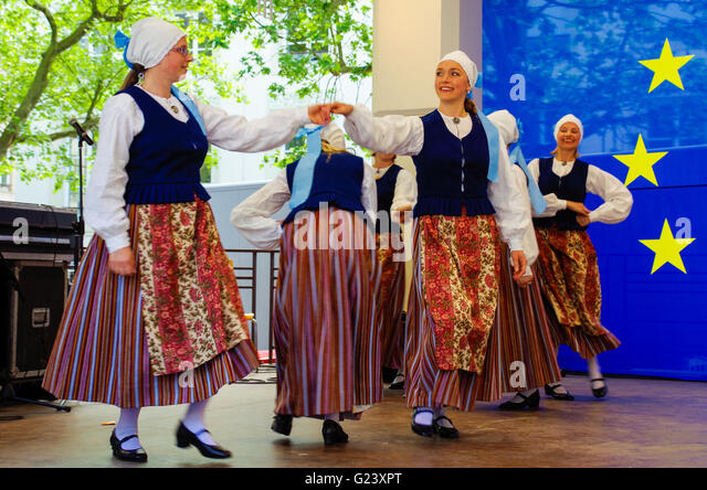 Estonian folk dance group dancing in Luxembourg during an outdoor European festival in May 2016 - Stock Image