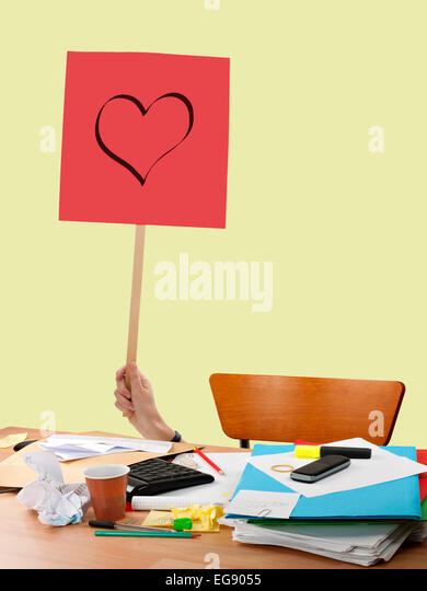 Workplace love, shy office romance. - Stock-Bilder