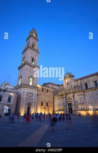 Lecce Cathedral is the cathedral of the city of Lecce in Apulia, Italy, dedicated to the Assumption of the Virgin - Stock Image