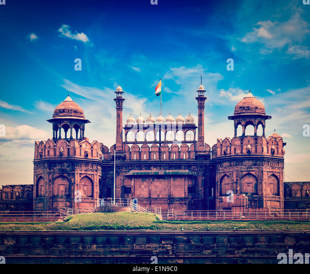 Vintage retro hipster style travel image of India travel tourism background - Red Fort (Lal Qila) Delhi - World - Stock Image
