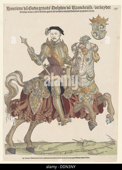 Portrait of King Henry II of France on horseback, 1542-1543. Artist: Anthonisz., Cornelis (1499-1553) - Stock Image