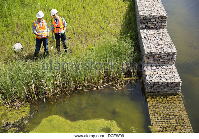 High angle view of male ecologists exploring riverbank - Stock Image