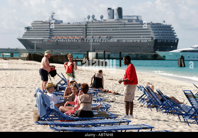 Grand Turk Cockburn Town Columbus Landfall National Park Governor's Beach sunbathing ms Noordam - Stock Image