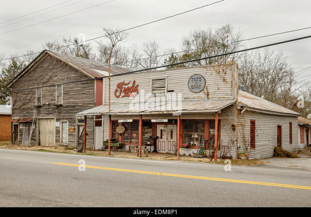 Freds Feed and Seed store in rural Loachapoka, Alabama.  Loachapoka is a short drive north and east of Montgomery, - Stock Image