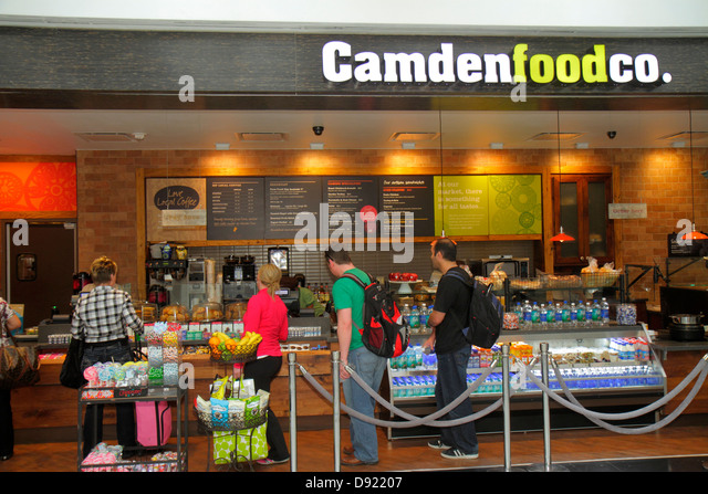 Texas Houston George Bush Intercontinental Airport IAH concourse gate area Camdenfoodco. Camden Food Company line - Stock Image