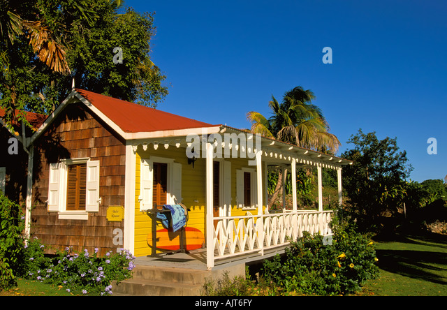 Hermitage Plantation hotel, island of nevis, caribbean, guest rooms, nevisian style wood building, luxury travel, - Stock Image
