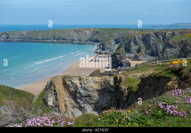 The beach at Bedruthan Steps in Cornwall. England, UK - Stock Image
