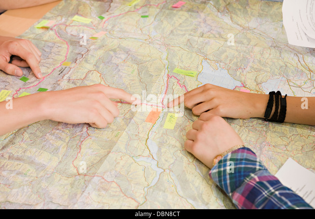 Pointing To Location On Map, Weilheim, Germany, Europe - Stock Image