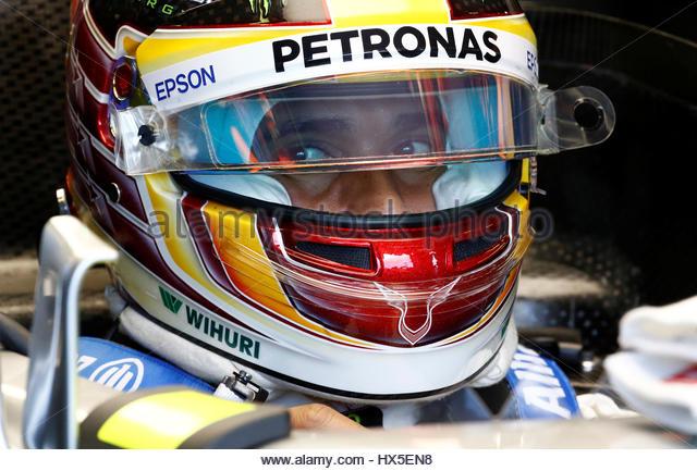 Formula One - F1 - Australian Grand Prix - Melbourne, Australia - 25/03/2017 Mercedes driver Lewis Hamilton of Britain - Stock-Bilder