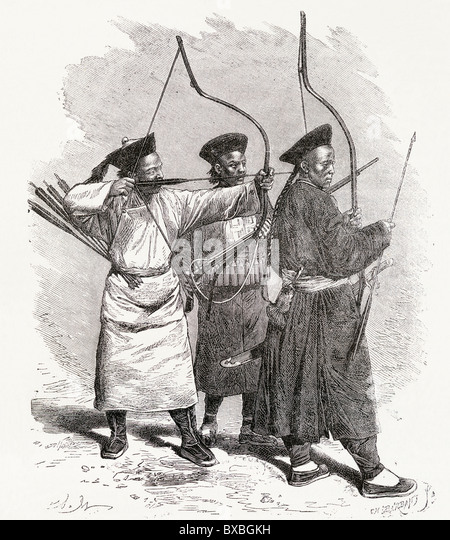 Chinese archers 19th century - Stock-Bilder