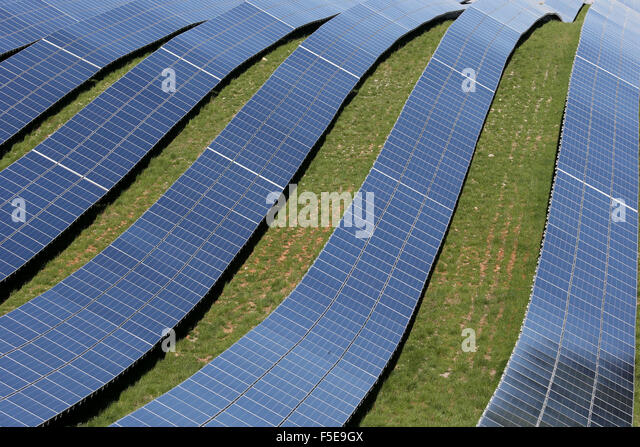 Solar farm, detail of photovoltaic power plant, Alpes-de-Haute-Provence, France, Europe - Stock Image