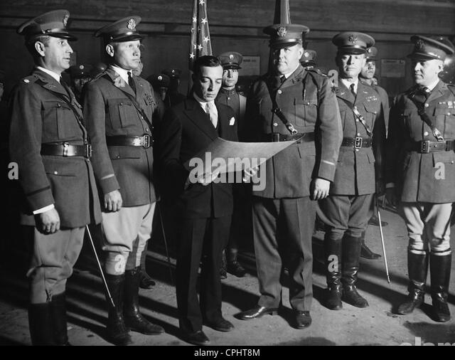 Buster Keaton with members of the National Guard, 1928 - Stock Image