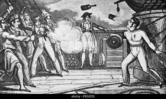 'Pirates Killing a Captured Man', print. Pirates shoot and throw bottles at a captured man tied up with - Stock Image