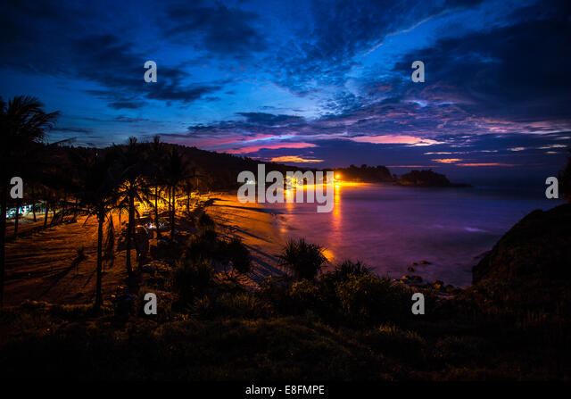 East Java, Klayar Beach at dusk - Stock Image