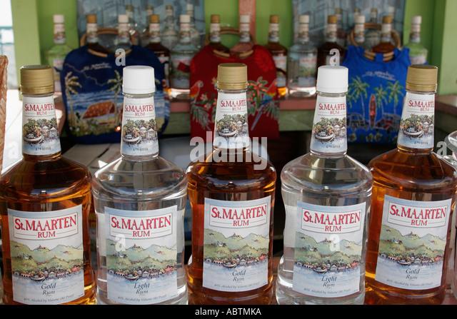 Sint Maarten Great Bay Philipsburg Dutch bottles rum alcohol duty free - Stock Image
