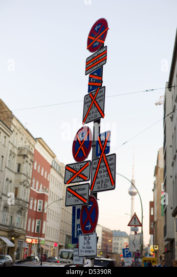 Berlin, Germany, crossed traffic signs - Stock Image